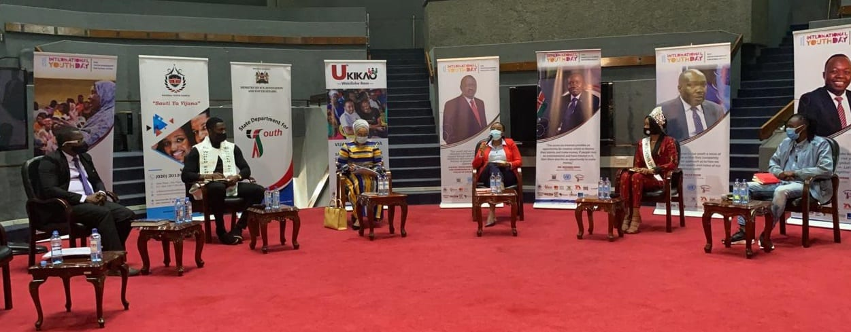 Miss World Kenya (2nd left) & Mr World Kenya (2nd right) in the Youth Komesha Corona discussion